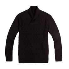 Custom Pure Colour Shawl Collar Pullover Men Sweater